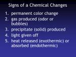 signs of a chemical changes