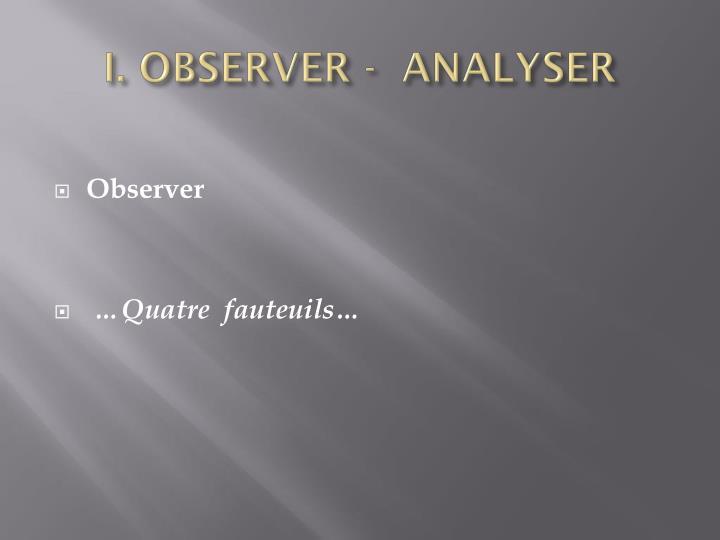 I. OBSERVER -  ANALYSER