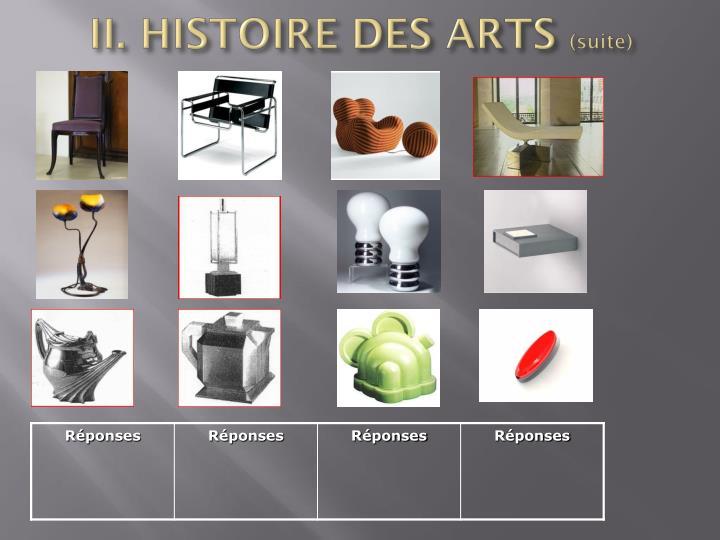II. HISTOIRE DES ARTS