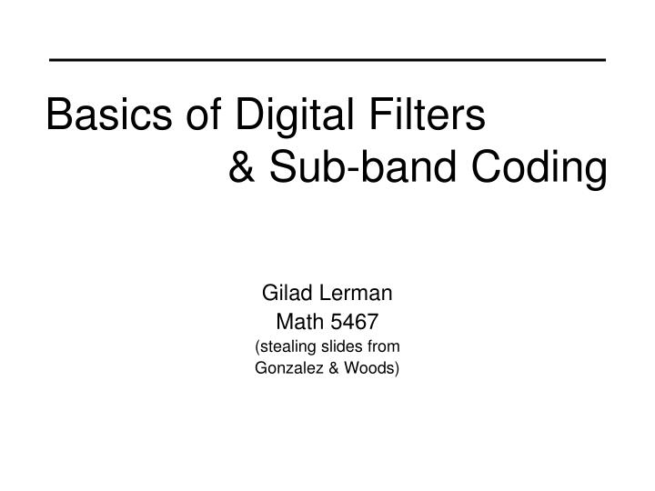 Basics of digital filters sub band coding