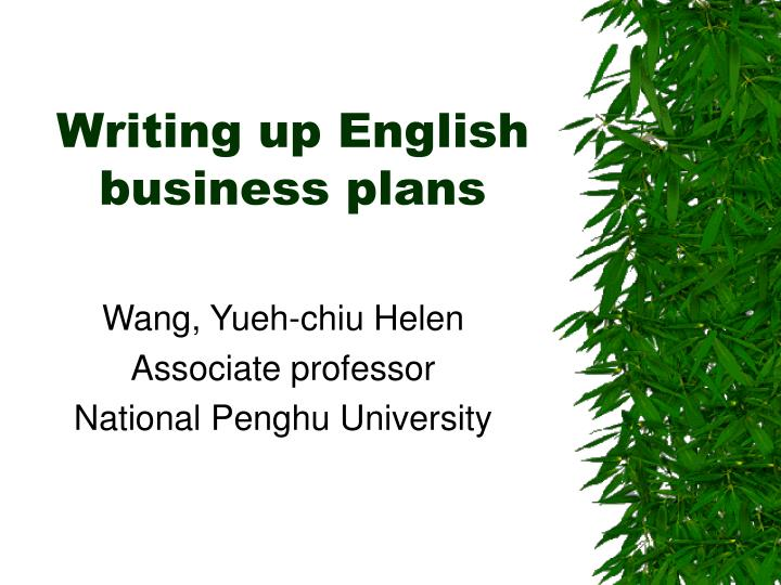 writing up english business plans n.