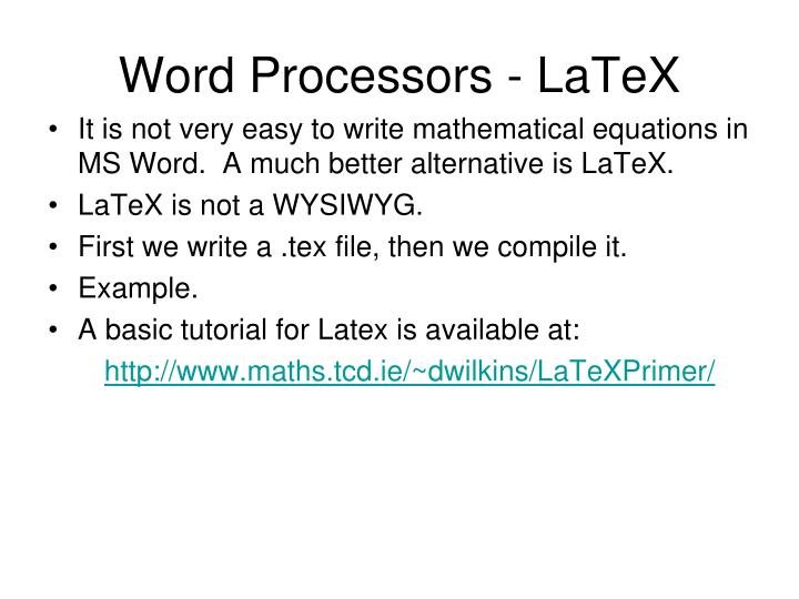Word Processors - LaTeX