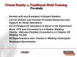 virtual reality vs traditional weld training pre study