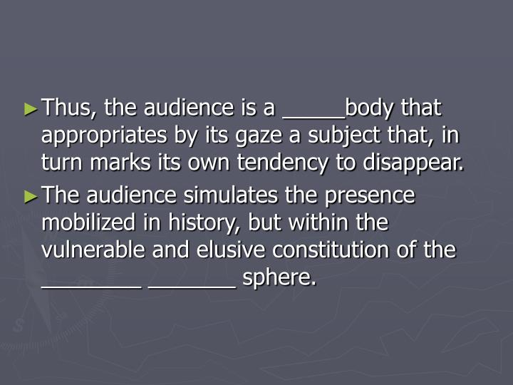 Thus, the audience is a _____body that appropriates by its gaze a subject that, in turn marks its own tendency to disappear.