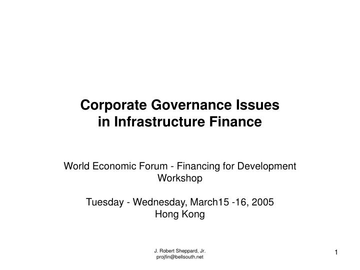 corporate governance issues in infrastructure finance n.