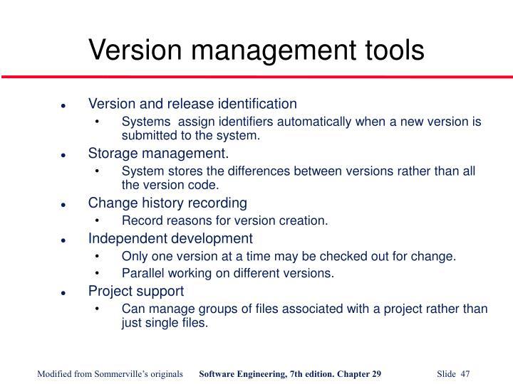 Version management tools