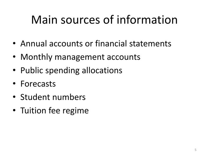 Main sources of information