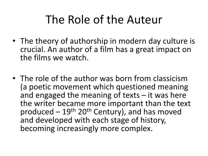 The role of the auteur
