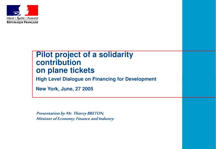 pilot project of a solidarity contribution on plane tickets n.