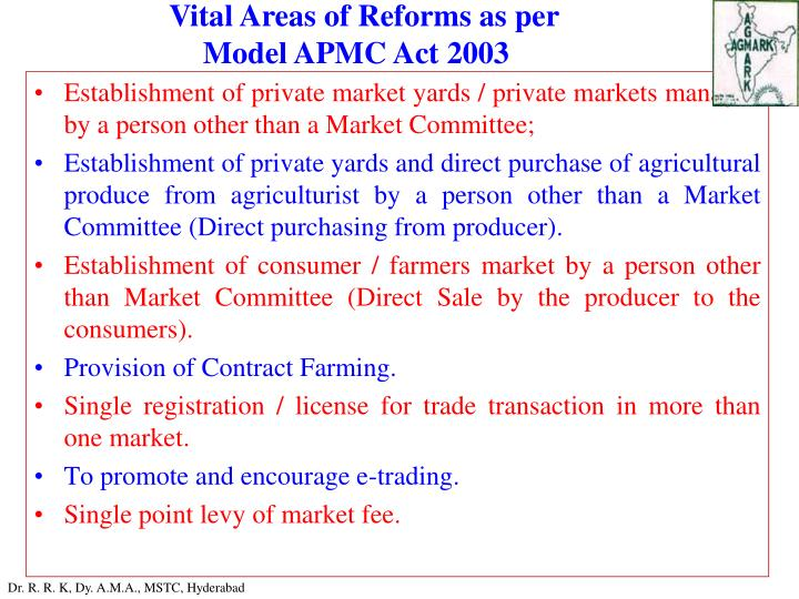 Vital Areas of Reforms as per