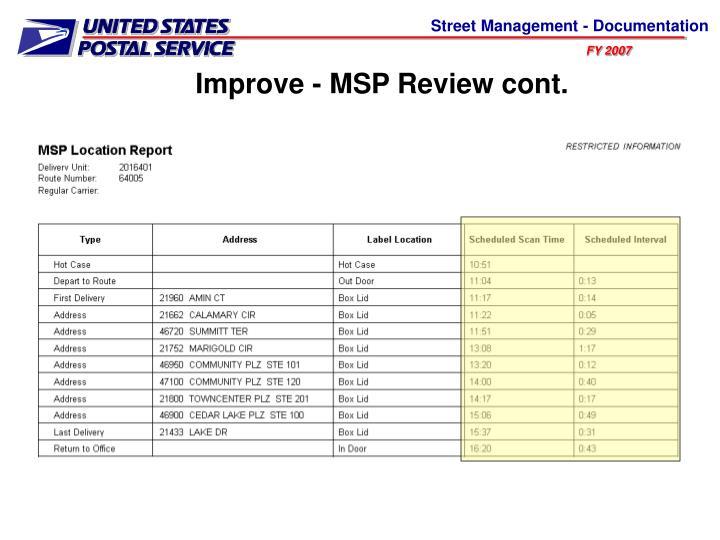 Improve - MSP Review cont.