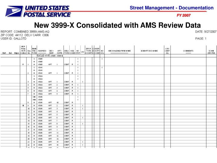 New 3999-X Consolidated with AMS Review Data