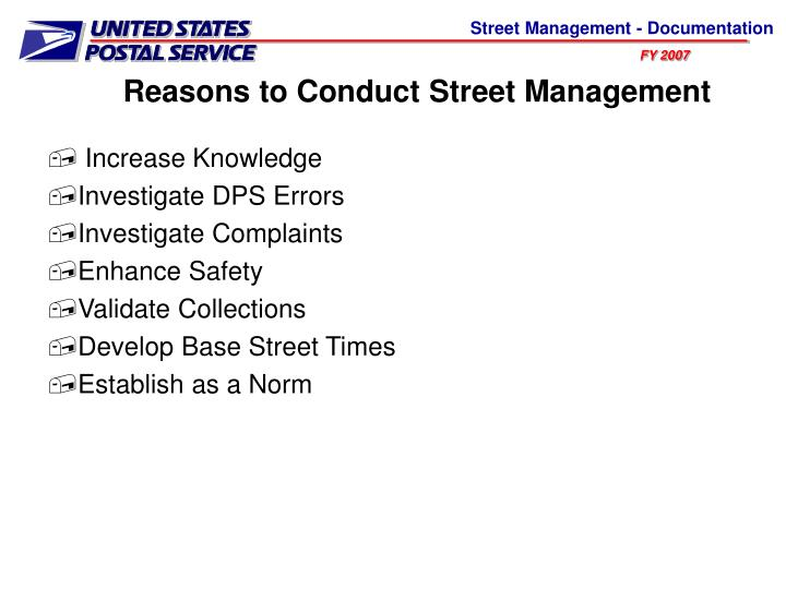 Reasons to Conduct Street Management