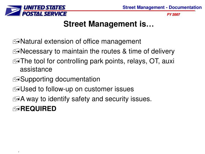 Street management is