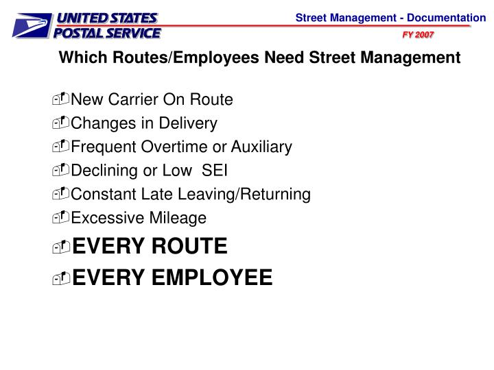 Which Routes/Employees Need Street Management