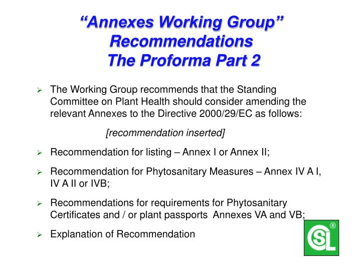 """""""Annexes Working Group""""  Recommendations"""
