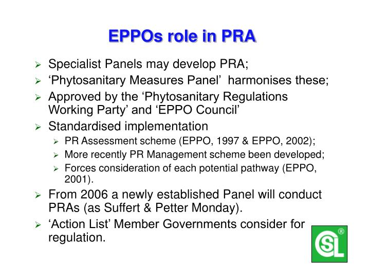 EPPOs role in PRA