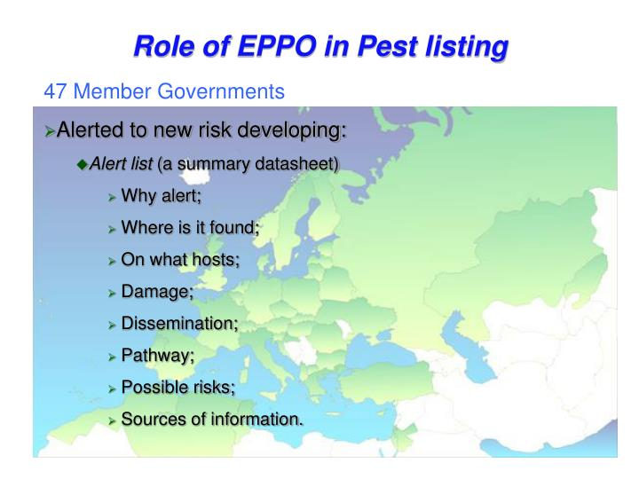 Role of EPPO in Pest listing