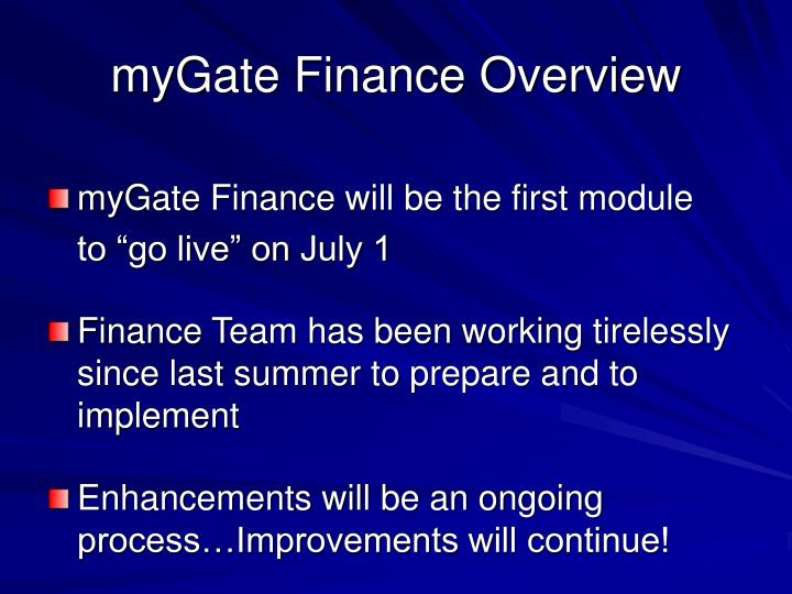 myGate Finance Overview