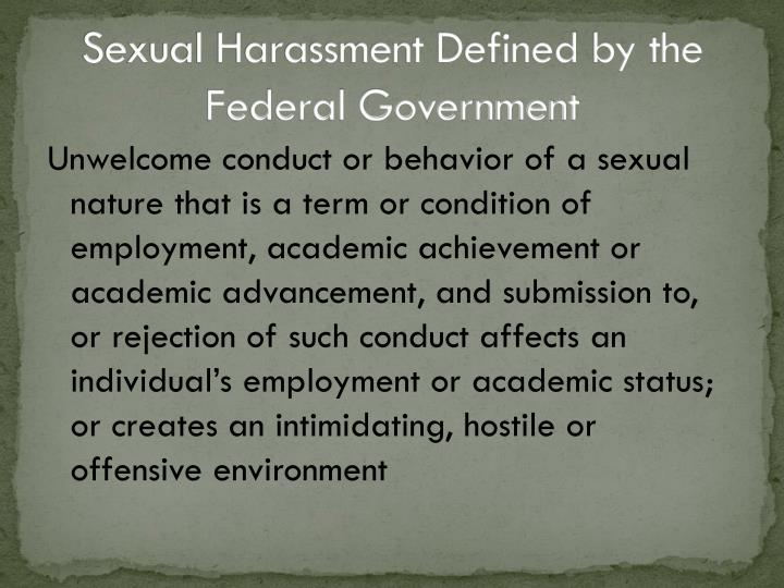 Sexual Harassment Defined by the Federal Government