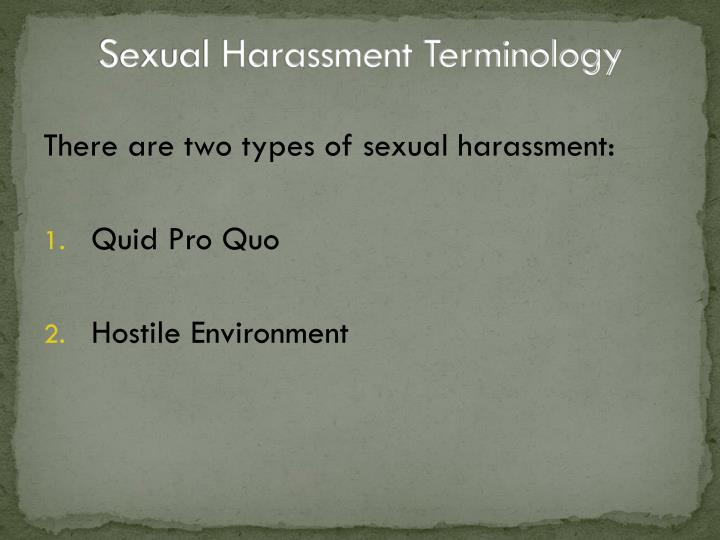 Sexual Harassment Terminology