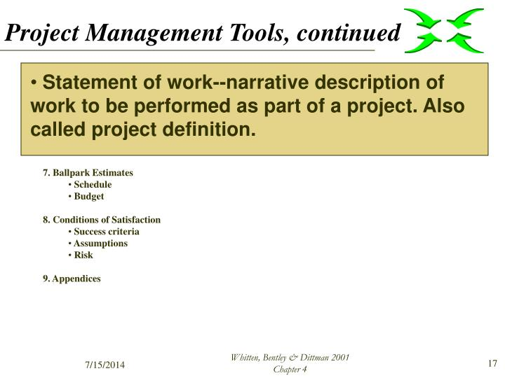 Project Management Tools, continued