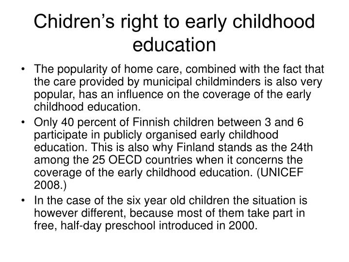 Chidren's right to early childhood education