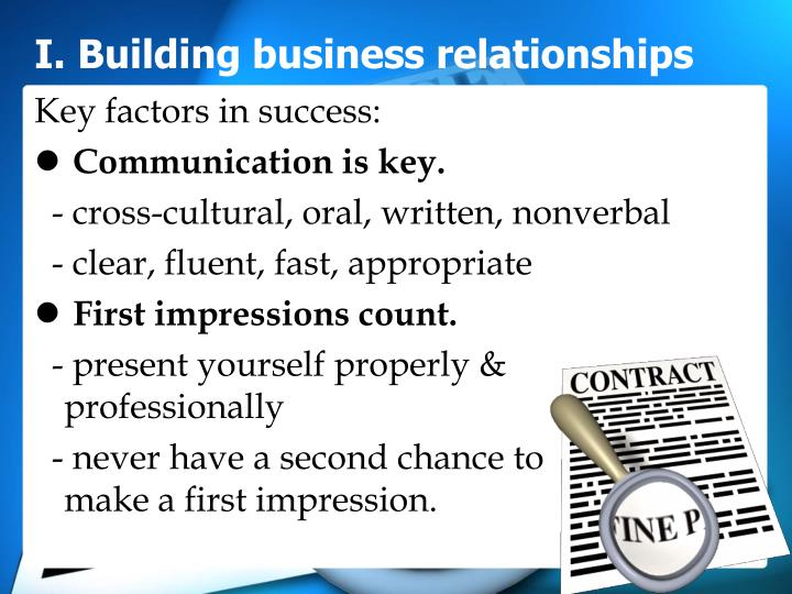 I. Building business relationships