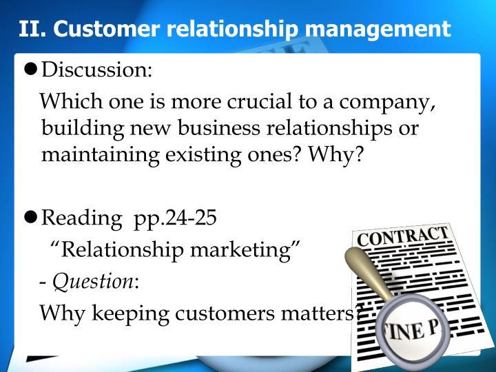 II. Customer relationship management