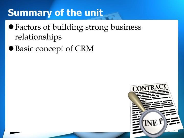 Summary of the unit