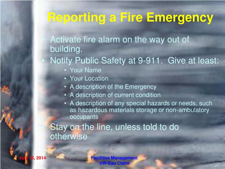 Reporting a Fire Emergency