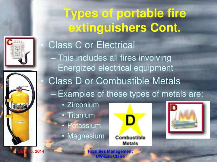 Types of portable fire extinguishers Cont.