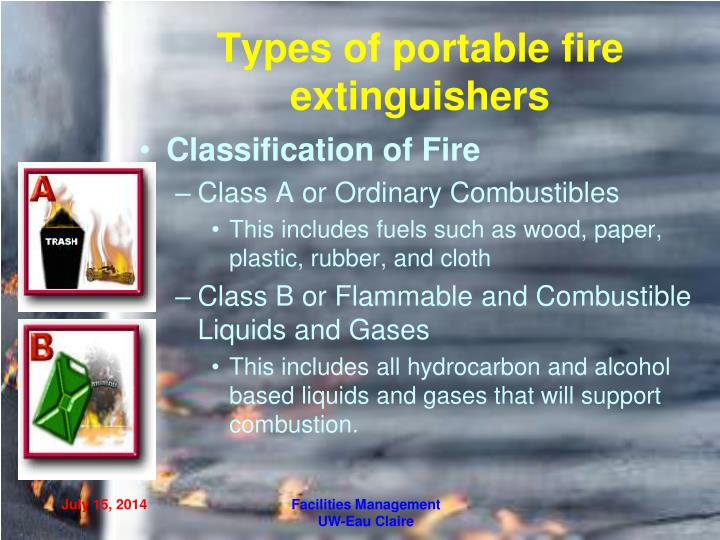 Types of portable fire extinguishers