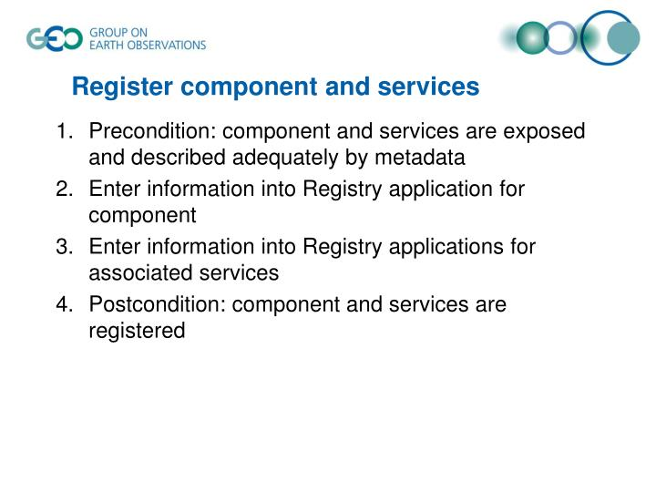 Register component and services