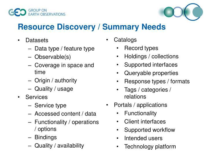 Resource Discovery / Summary Needs