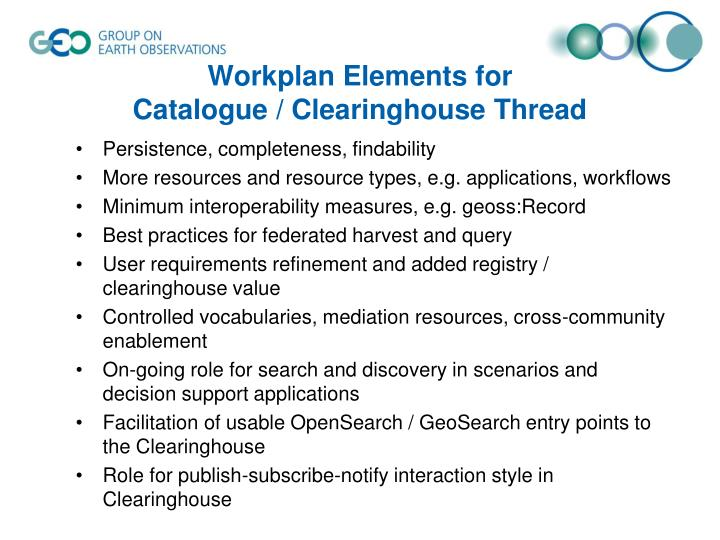 Workplan Elements for