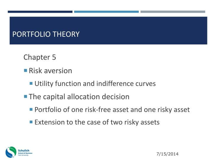 overview of portfolio theories 1 this book gives an overview of the most widely used theories in asset pricing and some more recent developments the aim of these theories is to determine the.