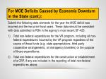 for moe deficits caused by economic downturn in the s tate cont