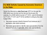 for moe deficits caused by economic downturn in the state