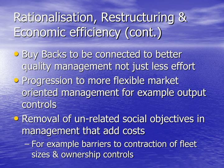 Rationalisation, Restructuring & Economic efficiency (cont.)