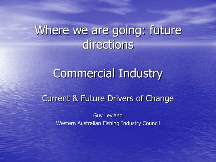 Where we are going future directions commercial industry
