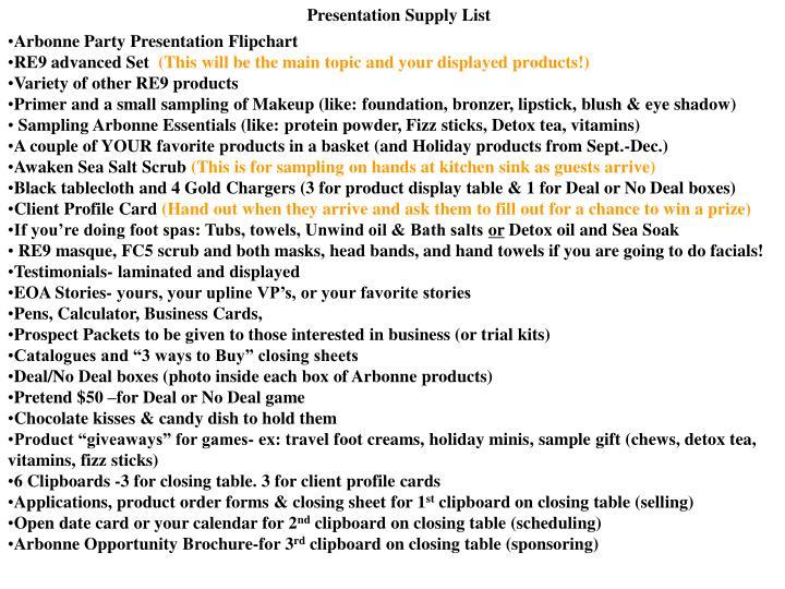 Presentation Supply List