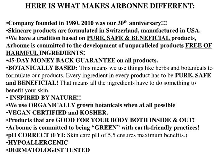 HERE IS WHAT MAKES ARBONNE DIFFERENT: