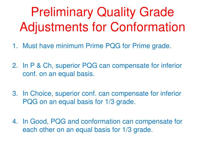 Preliminary Quality Grade Adjustments for Conformation