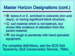 master horizon designations cont