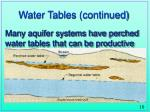 water tables continued