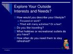 explore your outside interests and needs