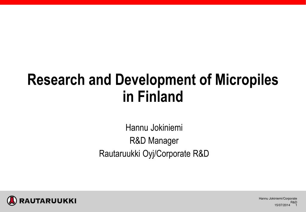 research and development of micropiles in finland n