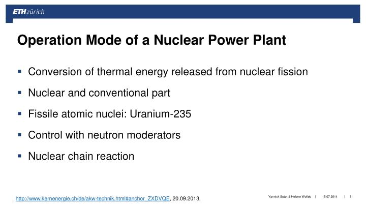 Operation mode of a nuclear power plant