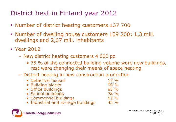 District heat in Finland year 2012